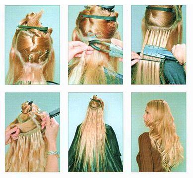 Последовательность горячего наращивания волос