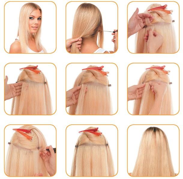 Последовательность ленточного наращивания волос