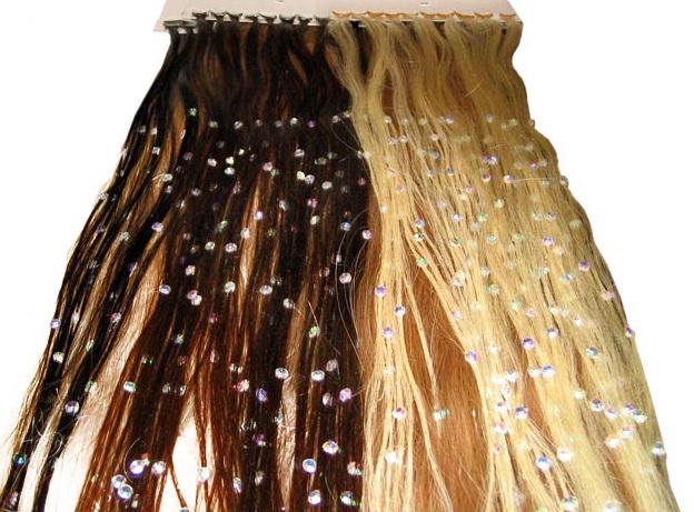 Стразы сваровски на натуральных волосах с кератиновой капсулой
